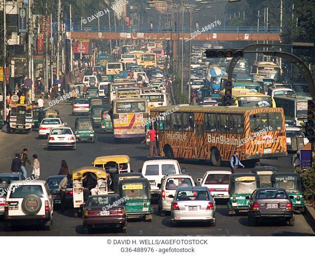 Urban traffic in the heart of Dhaka, Bangladesh