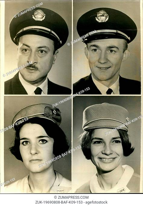 Aug. 08, 1969 - Four French people were part of the team on board the American Boeing 747 that was rerouted. The usual route is from LA to New York