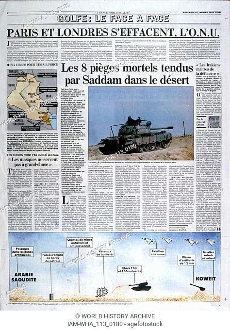 article in 'France-Soir' a French newspaper, 16th January 1991, concerning the military balance of power during the Gulf War (2 August 1990 - 28 February 1991)