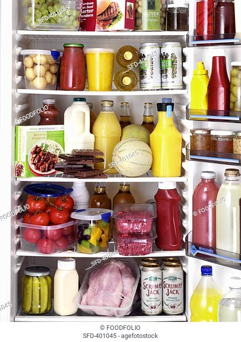 Various foods and drinks in a refrigerator Not available for exclusive usages