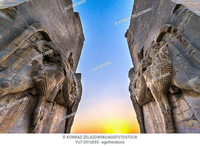 Bulls sculptures of western entrance of Gate of All Nations in Persepolis, ceremonial capital of Achaemenid Empire in Iran