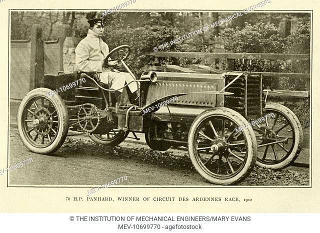 70 HP Panhard, winner of Circuit des Ardennes Race, 1902, Stock Photo,  Picture And Rights Managed Image. Pic. MEV-10699770 | agefotostock