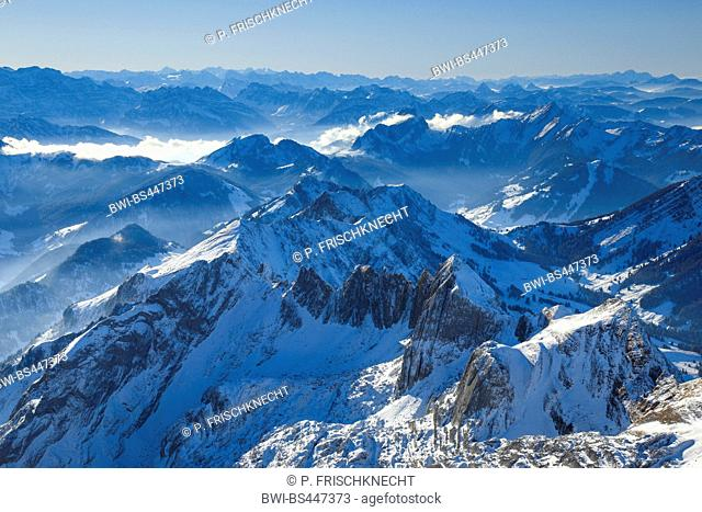 view from Saentis to the Swiss Alps, Switzerland, Appenzell