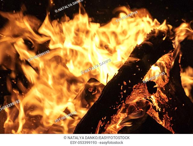 burning wooden logs and large orange flame on a black background, close up