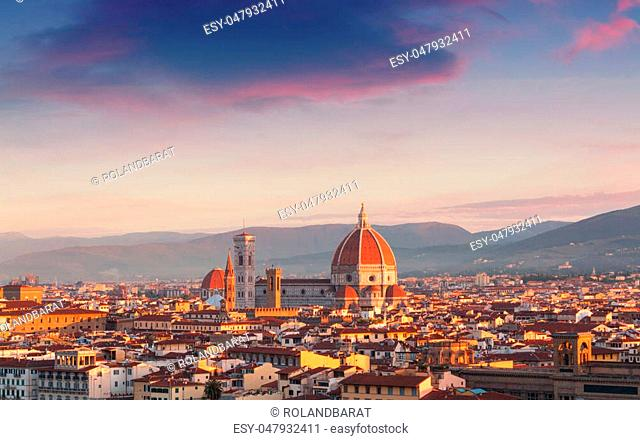 Beautiful views of Florence cityscape in the background Cathedral Santa Maria del Fiore at sunrise in Italy, Europe