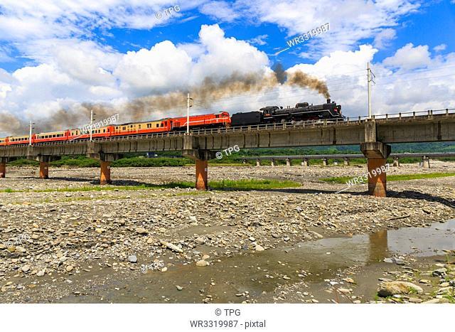 Steam train on Luye River Bridge;Taiwan