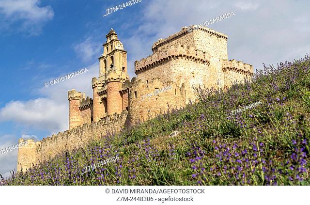 Castillo de Turégano con flores. Segovia province. Castile-Leon. Spain
