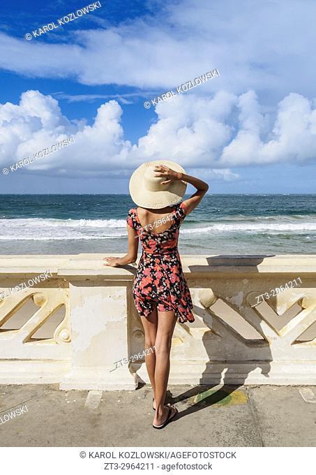 Brazilian Model on the Promenade by the Farol da Barra Beach, Salvador, State of Bahia, Brazil