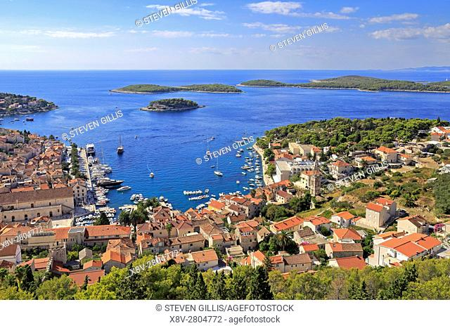 Harbour and the Pakleni Islands from the Spanish Fortress, Hvar Town, Croatia, Dalmatia, Dalmatian Coast, Europe