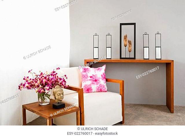 Bright sofa seat in luxury interior decoraton