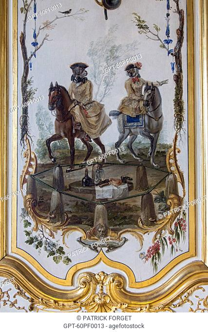 HUNTING SCENE AT THE TABLE OF MONTGRESIN, PANEL EVOKING THE FAMILIAR OCCUPATIONS OF THE LADIES OF CHANTILLY REPRESENTED AS ARISTOCRATIC APES