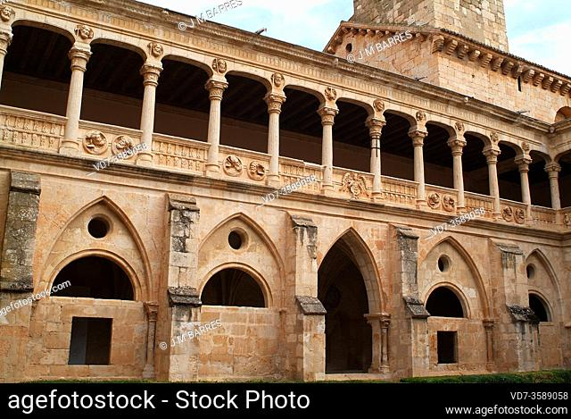 Monastery of Santa Maria de Huerta, cistercian 12th century. Gothic and plateresque cloister. Santa Maria de Huerta, Soria province, Castilla y Leon, Spain