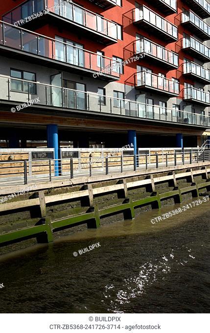 Modern Apartment development on the riverside near Woolwich, London, United Kingdom