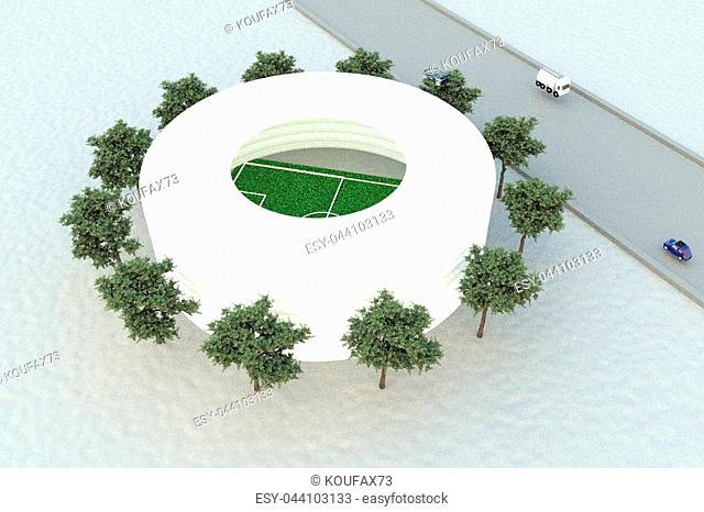 Soccer stadium seen from above, 3d rendering