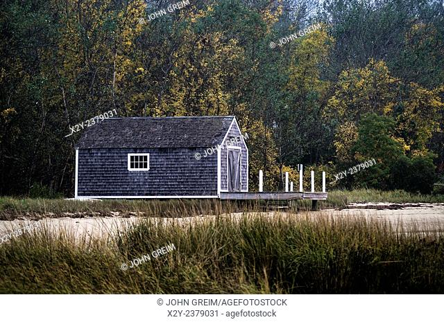 Rustic Boathouse On The Beach Stock
