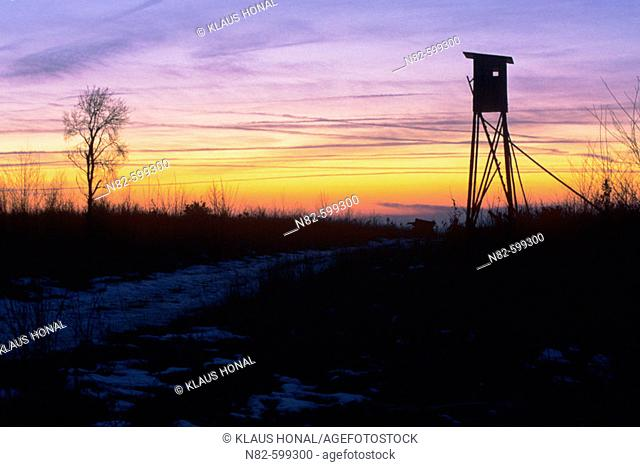 Deerstand at sunset in Franconia - Bavaria/Germany