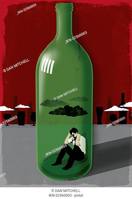 Man inside a wine bottle