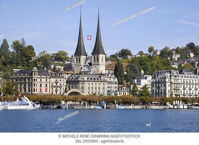 Church of St Leodegar Lucerne Switzerland Luzern Swiss Roman Catholic basilica Lake Lucerne