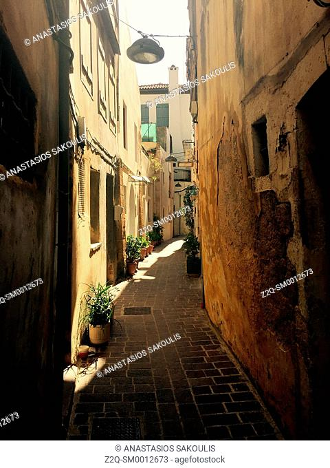 Narrow aisle at old town of Chania, Crete, Greece