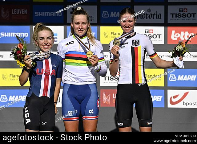 American Kaia Schmid, British Zoe Backstedt and German Linda Riedmann pictured on the podium after the women junior road race on the seventh day of the UCI...