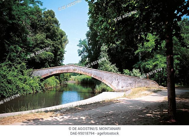 Prince's bridge over the Fiumetto river, 18th century, Marina di Pietrasanta, Versiliana park, Tuscany, Italy