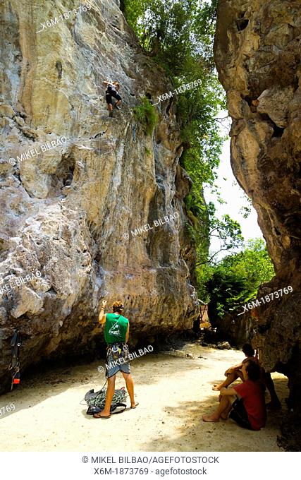 Climbers in Railay  Krabi province, Thailand