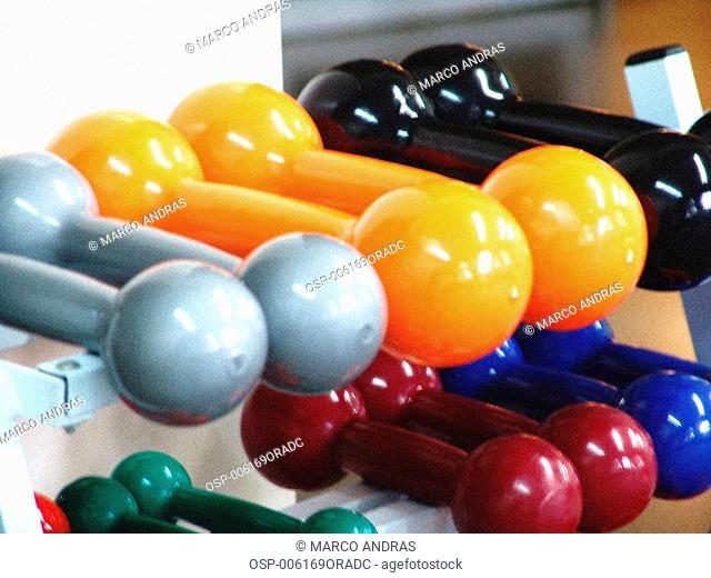 colored gymnastic accessories and equipments