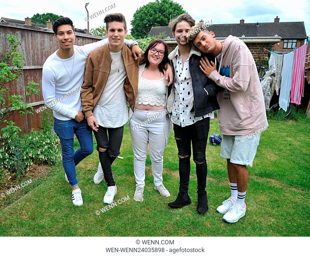 Members of Franklin Lake visit competition winner Amy Bell who beat twenty three thousand other entrants to win a home visit from the band
