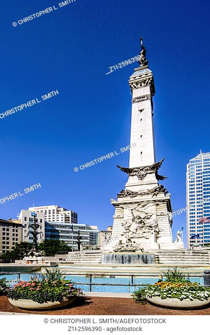 Indianapolis, IN, USA - July 6, 2006: The Soldiers and Sailors monument in Monument Circle, downtown Indianapolis