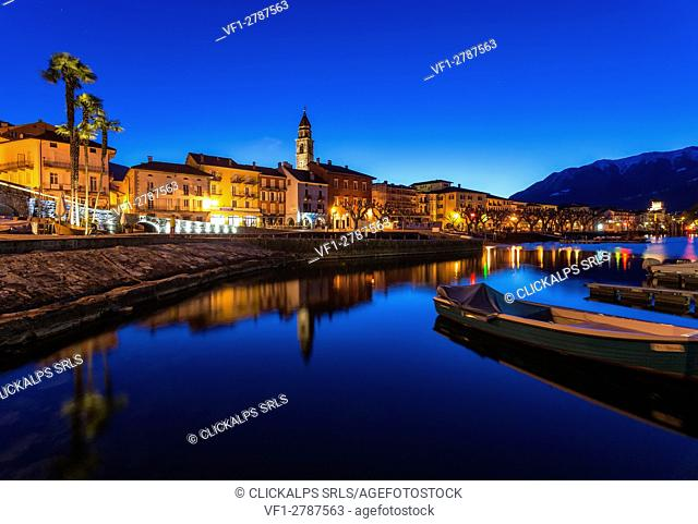Switzerland, Ticino, Lake Maggiore, Locarno, lakefront, dawn,blue hour,