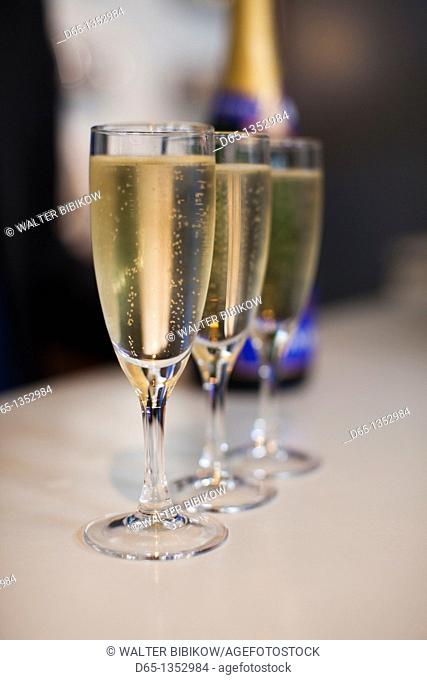France, Marne, Champagne Ardenne, Reims, Pommery champagne winery, champagne glasses
