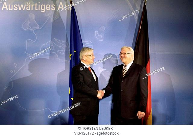 Joschka FISCHER ( Alliance 90 The Greens ) consigns foreign ministry to his successor Frank-Walter STEINMEIER ( SPD ). - BERLIN, GERMANY, 23/11/2005