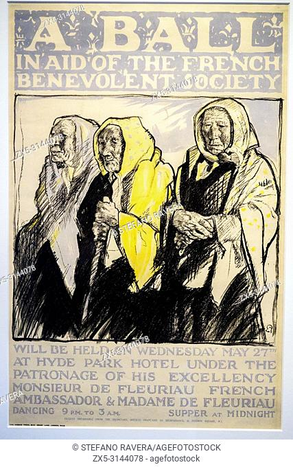 Poster for a Charity Ball by Frank Brangwyn (1867-1956). Litho. Arentshuis Museum - Bruges, Belgium