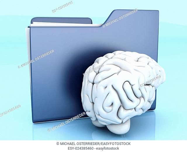 Brain and a Folder. 3D illustration