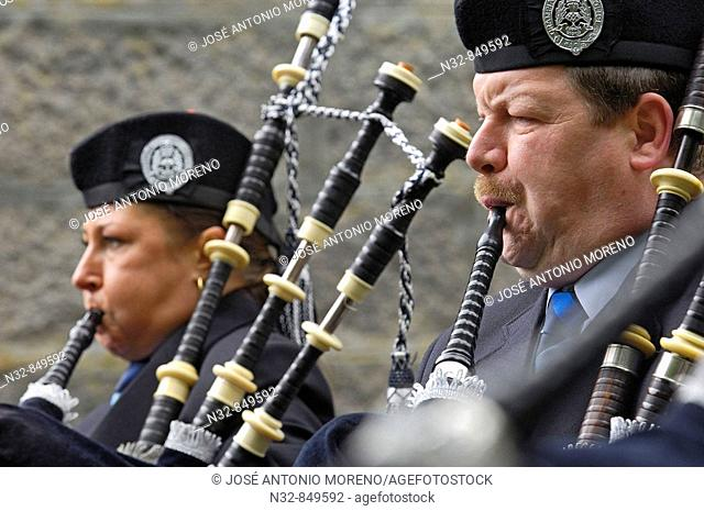 The Grampian Police Pipe Band at Balmoral Castle, Aberdeenshire, Scotland, UK