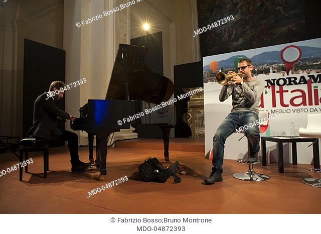 The trumpet player Fabrizio Bosso, accompanied by the pianist Bruno Montrone, in a live performance during the event Panorama d'Italia. Bari, Italy