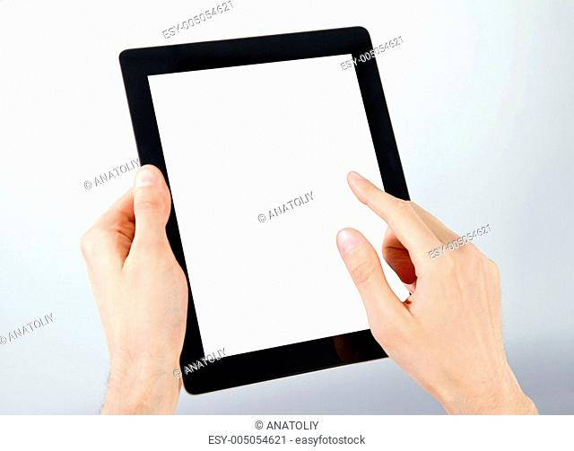 Holding And Point On Electronic Tablet PC