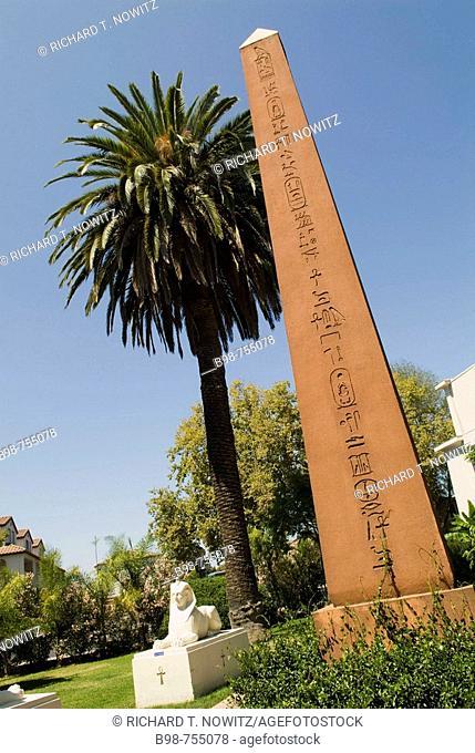 San Jose, California, Rosicrucian Egyptian Museum garden reproduction of obelisk
