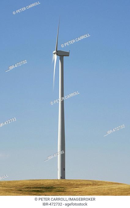 Wind turbine near the town of Gull Lake, Southern Saskatchewan, Canada
