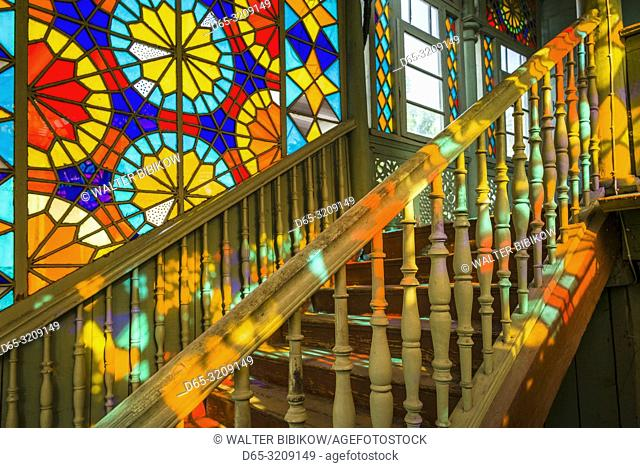Georgia, Tbilisi, Old Town, traditional Georgian building with stained-glass staircase