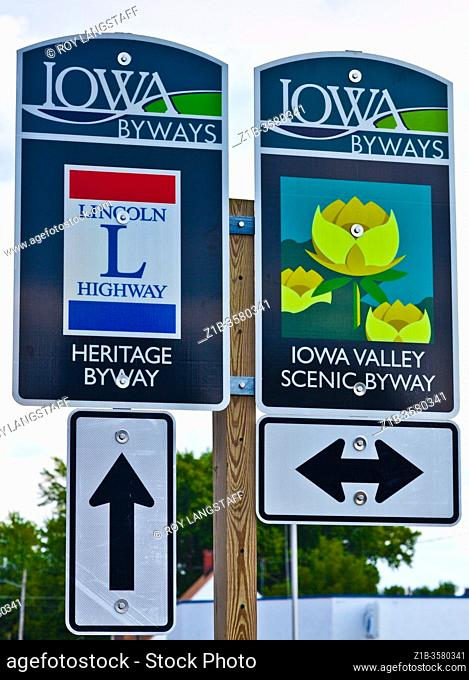 State of Iowa road signs pointing to directions of roadside and heritage interest