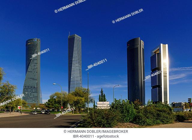Cuatro Torres, four towers, Torre de Cristal, Torre Bankia, Torre PWC and Torre Espacio, Madrid, Spain