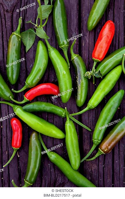 Close up of variety of chili peppers on board