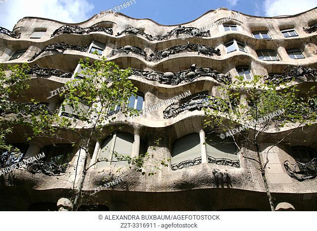 Gaudi's La Pedrera building, Barcelona, Spain