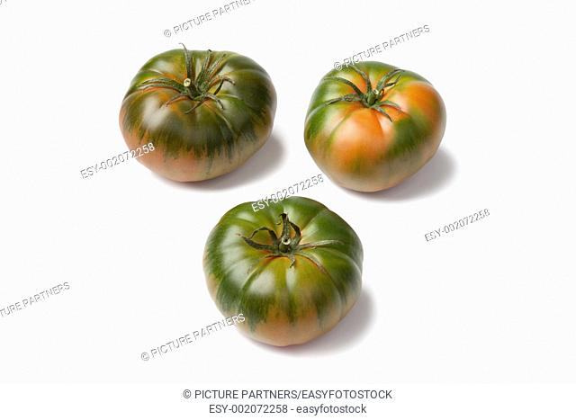 RAF heirloom tomatoes on white background