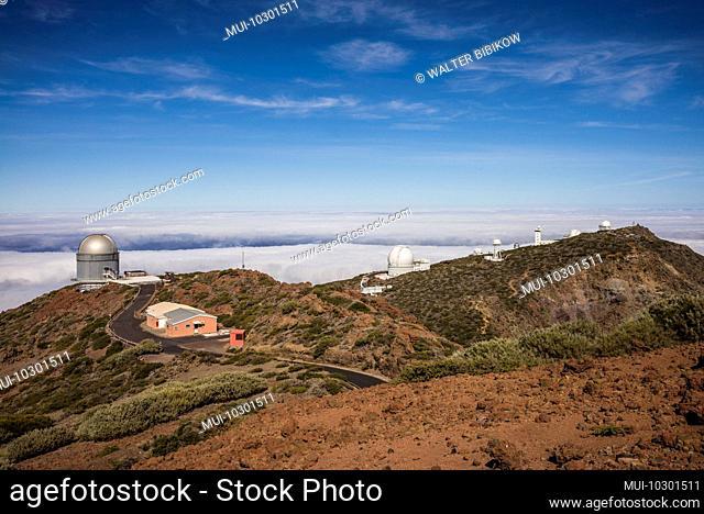 Spain, Canary Islands, La Palma Island, Parque Nacional Caldera de Taburiente national park, Roque de los Muchachos Observatory, telescopes