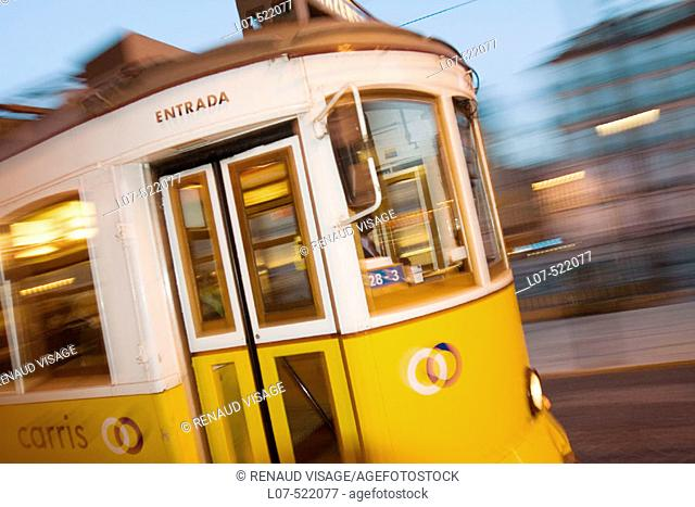 Tram at night. Lisbon. Portugal