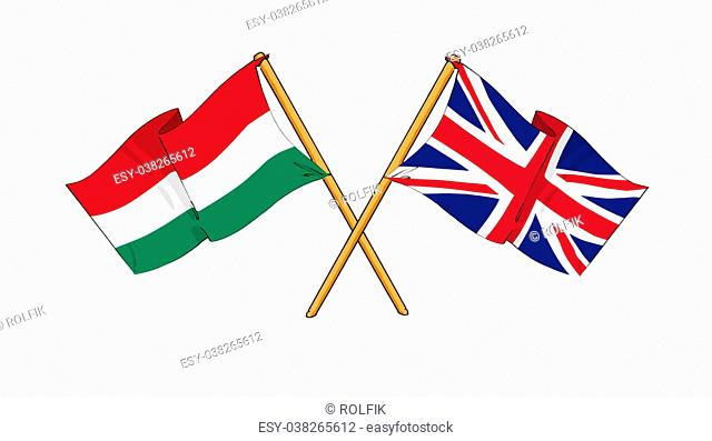 cartoon-like drawings of flags showing friendship between Hungary and United Kingdom