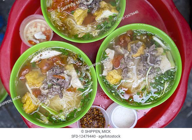 Bowls of noodle soup (Hanoi, Vietnam)
