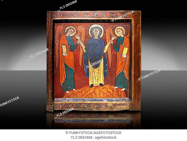 Romanesque thirteenth century painted altar front of Saint Roma de Vila, Encamp, Andorra, showing The Virgin Mary flanked by two angels